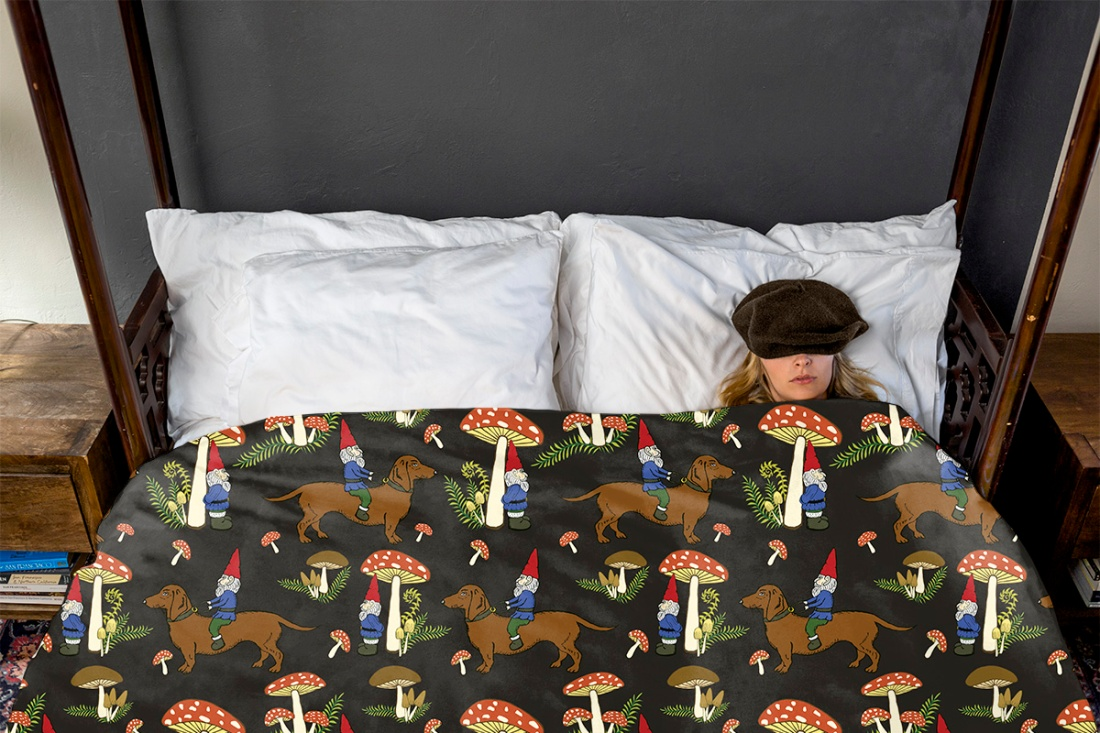 Gnome and Dachshund in the Mushroom Forest Duvet Cover available at  Redbubble