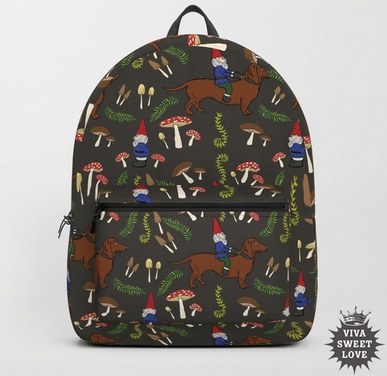 Gnome and Dachshund Mushroom Forest Back Pack available at  Society6